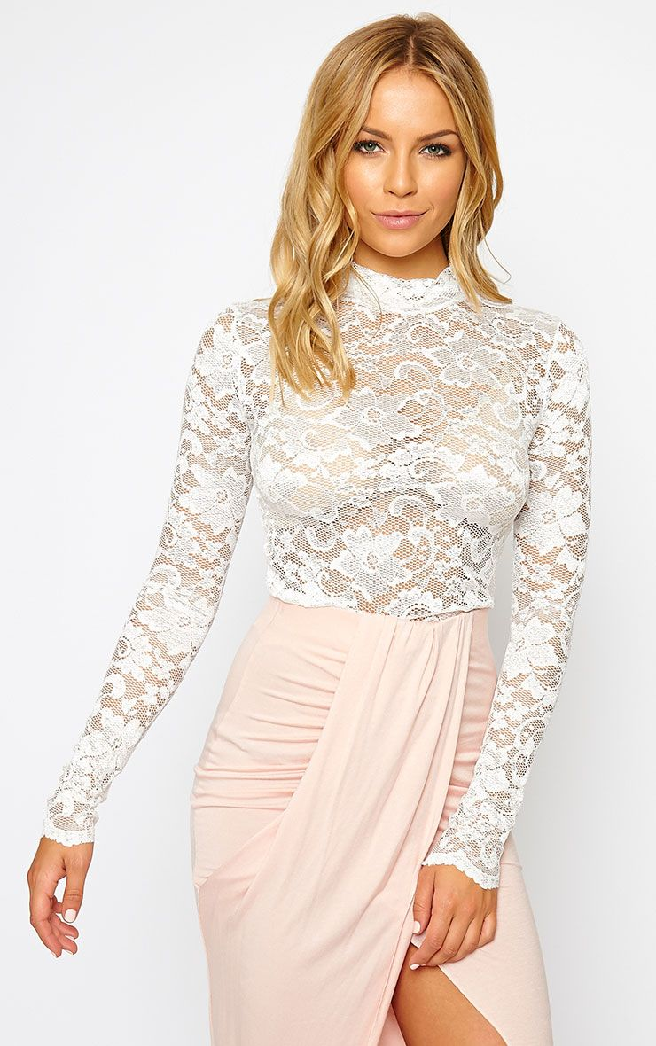 Carine White High Neck Lace Crop Top 1