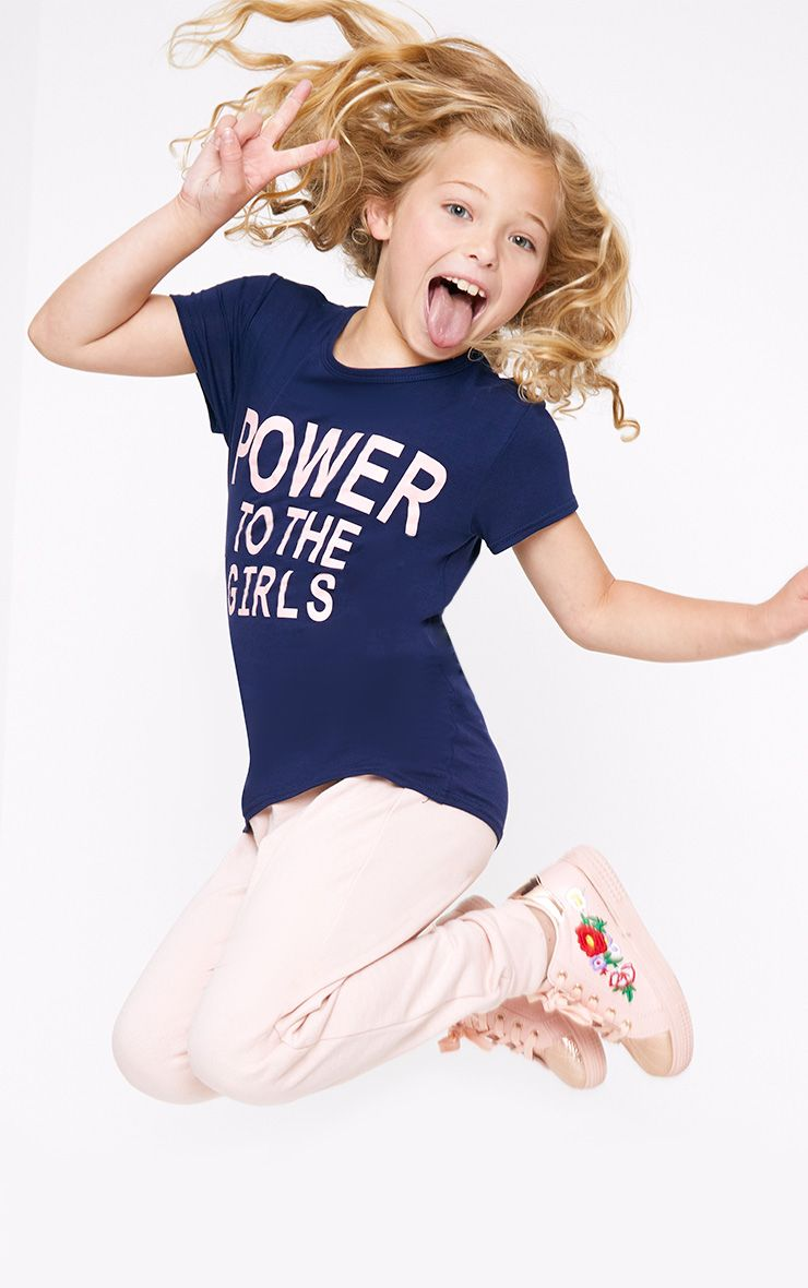 Power To The Girls Navy T Shirt