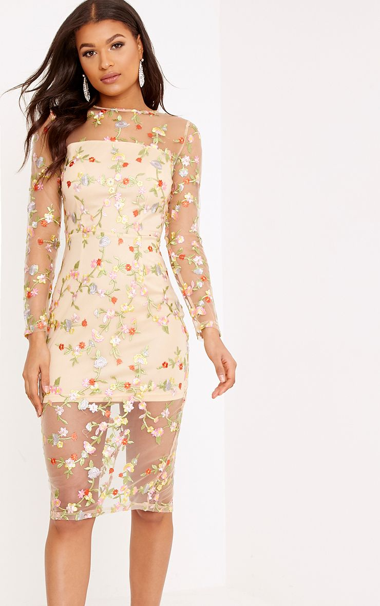 Meredith Nude Embroidered Floral Sheer Lace Midi Dress