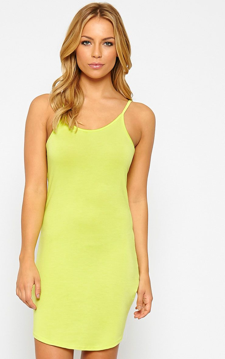 Basic Lime Jersey Mini Dress 1