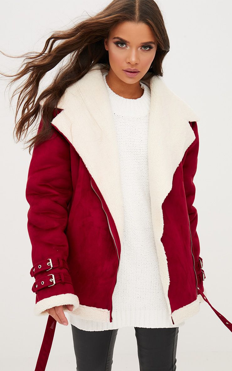 Burgundy Faux Suede Aviator Jacket