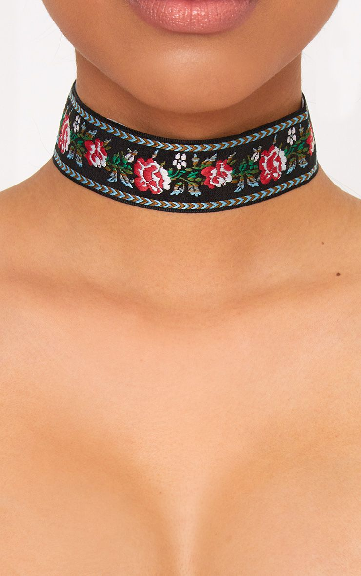 Black Embroidered Floral Choker