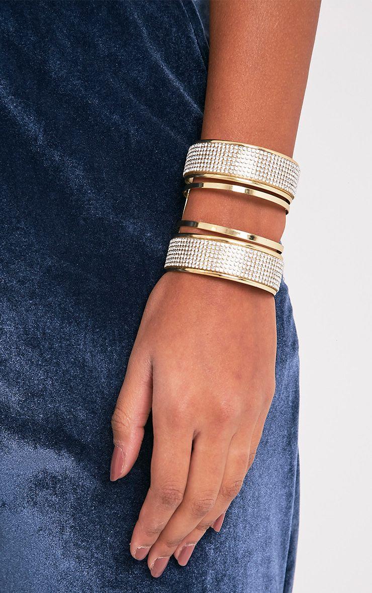 Shua Gold Diamante Detail Bangle 1