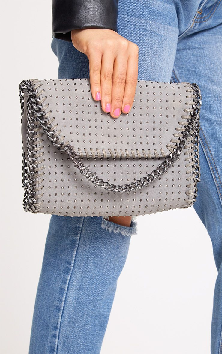 Grey Chain Trim Studded Bag