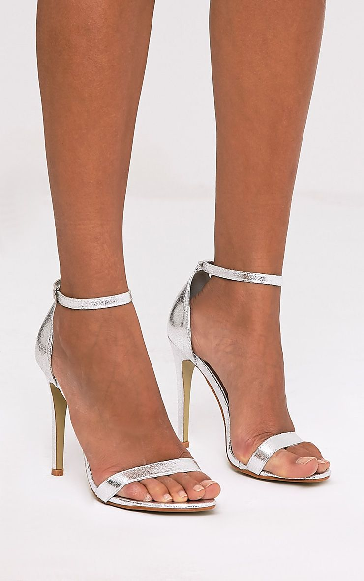 Clover Metallic Silver Strap Heeled Sandals - High Heels ...