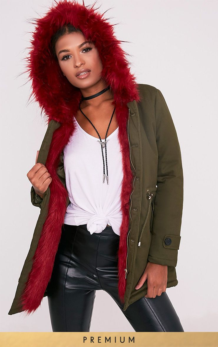 Jen Red Premium Faux Fur Lined Parka