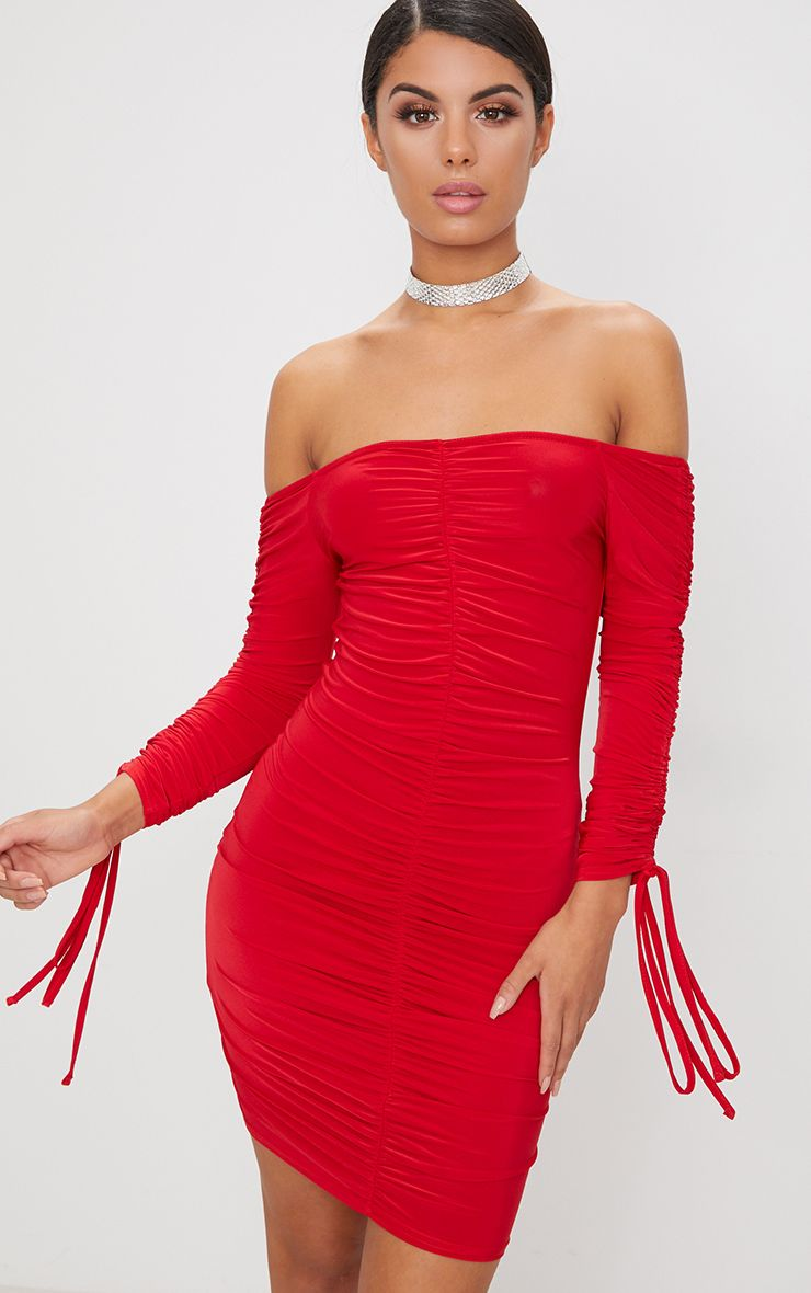 Red Bardot Ruched Slinky Midi Dress Pretty Little Thing mAMhmom5Lg