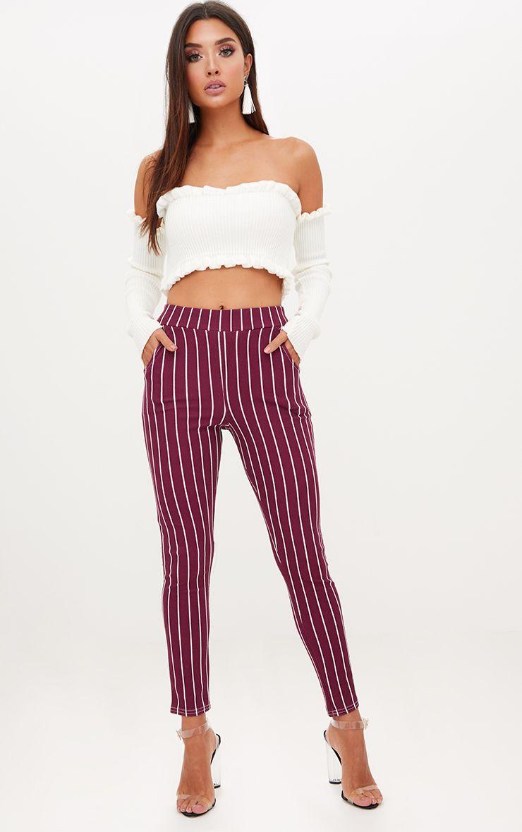 Burgundy Pinstripe Skinny Trousers
