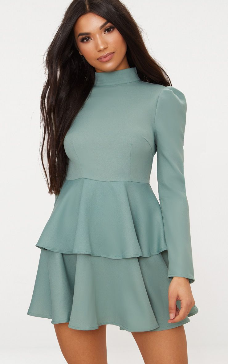 Sage Green High Neck Tiered Skater Dress. Shop The Range Of ...