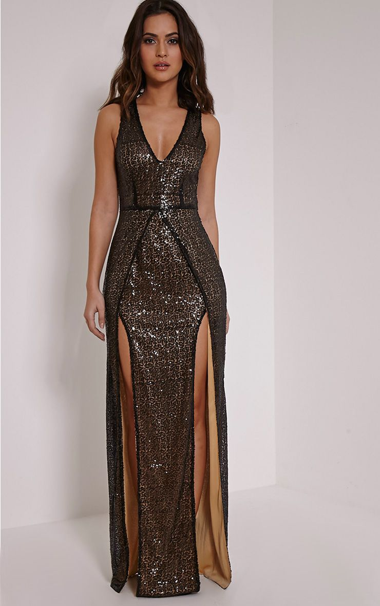 Jestina Black Sequin Maxi Dress