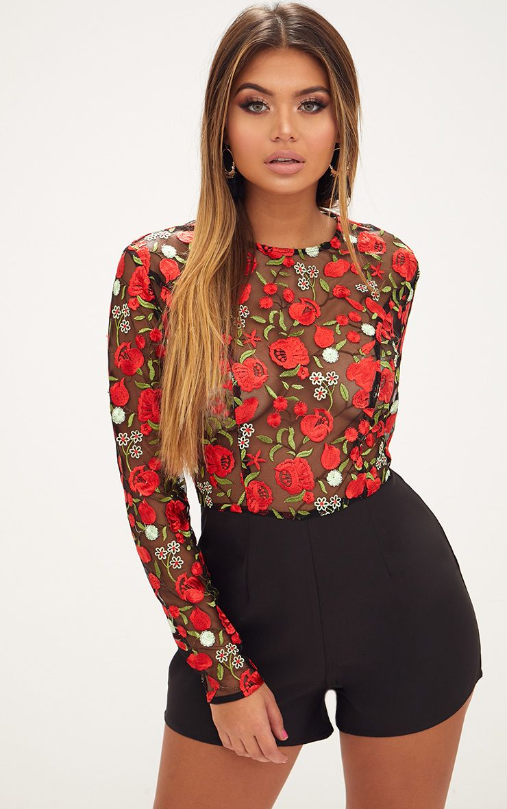 Red Long Sleeve Embroidered Playsuit