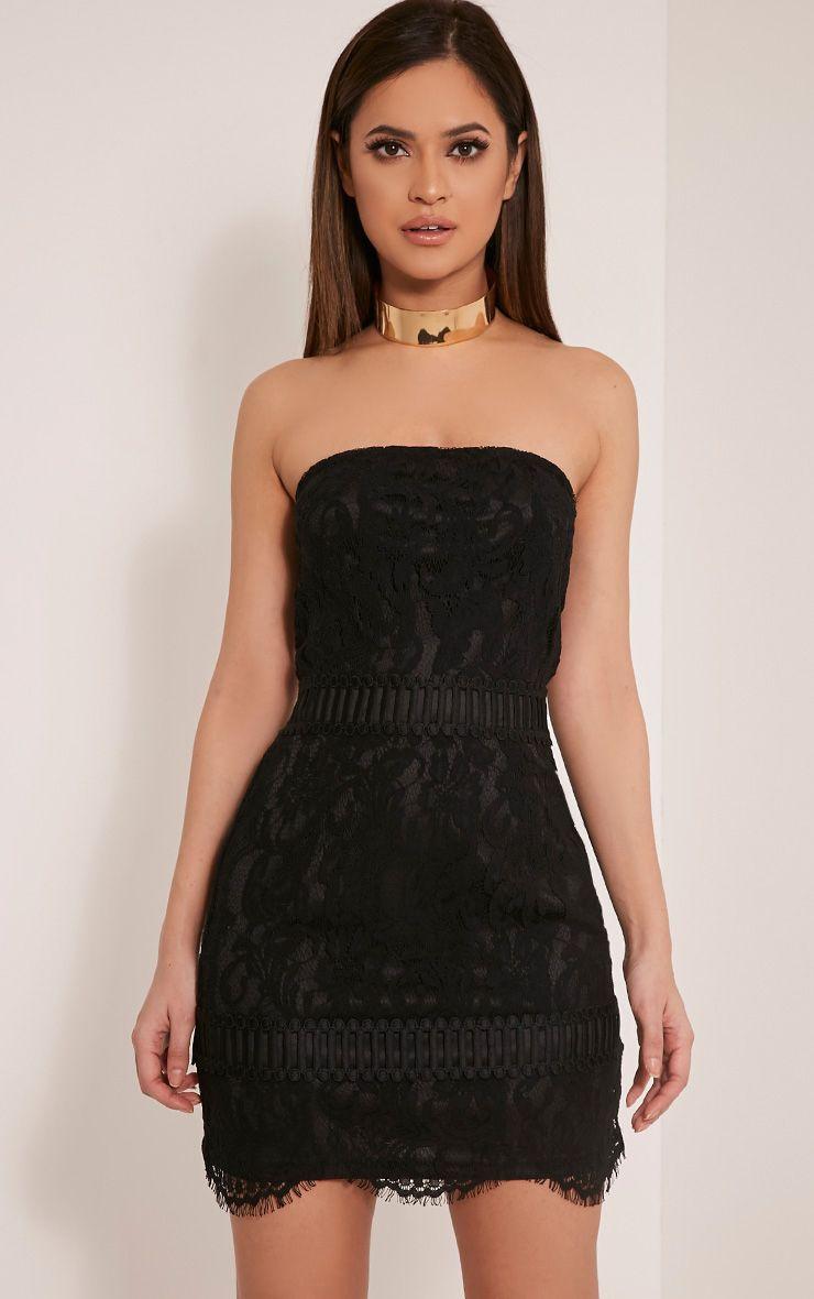 Trishia Black Crochet Panel Lace Mini Dress 1