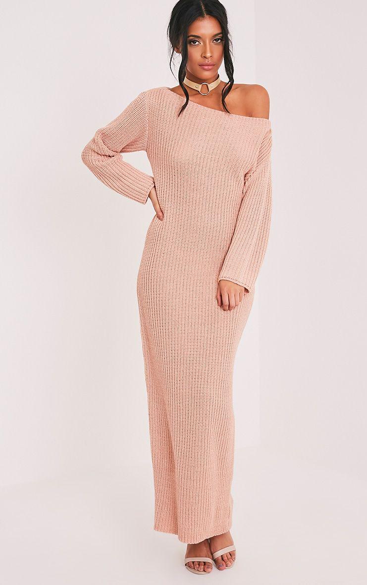 Adalynn Blush Knitted Maxi Jumper Dress 1