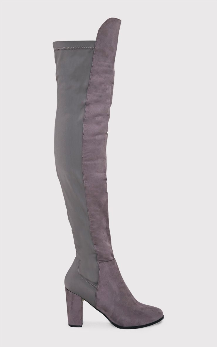 Tarla Grey Faux Suede Panel Over The Knee Boots