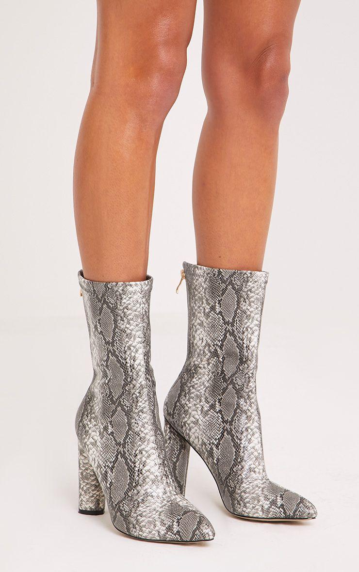 Mikayla Faux Snake Skin Sock Boots