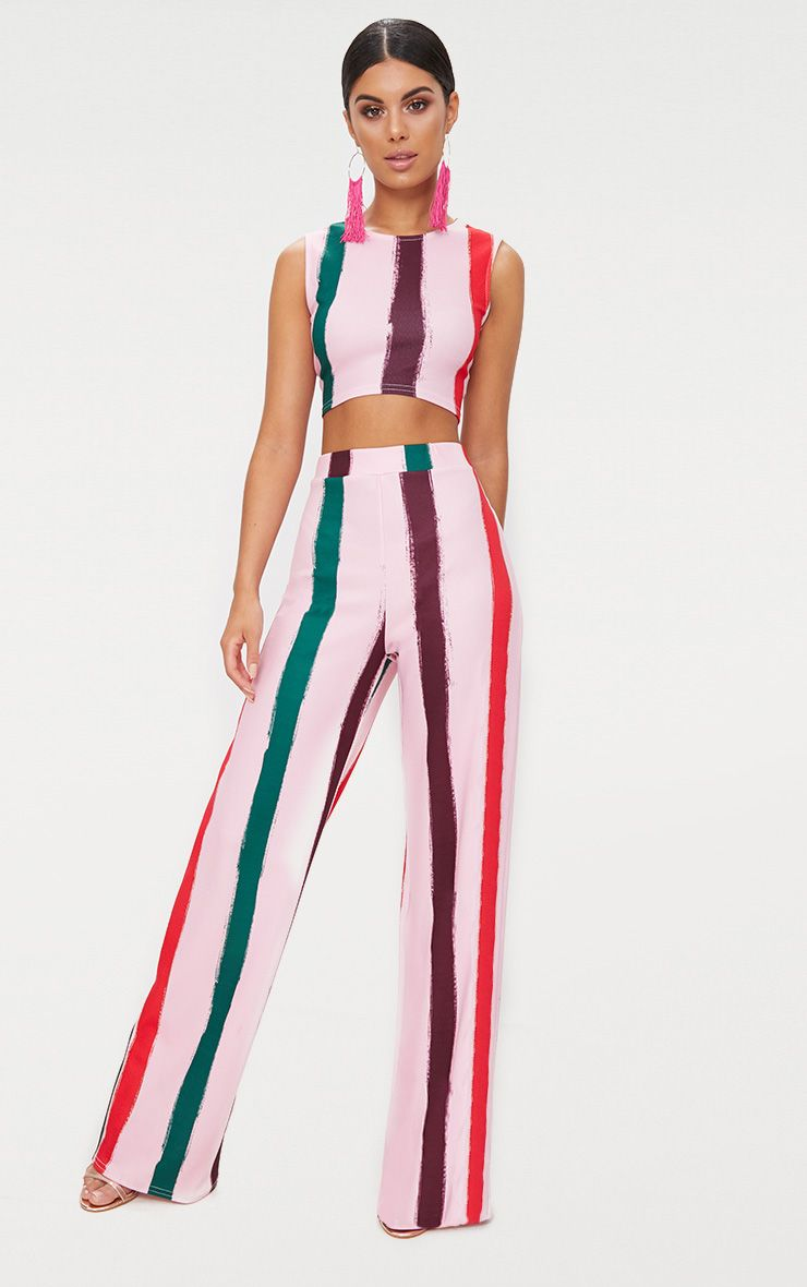Light Pink Multi Thick Stripe Wide Leg Trousers