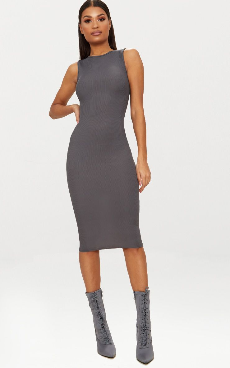 Charcoal Grey Ribbed Neck Midi Dress