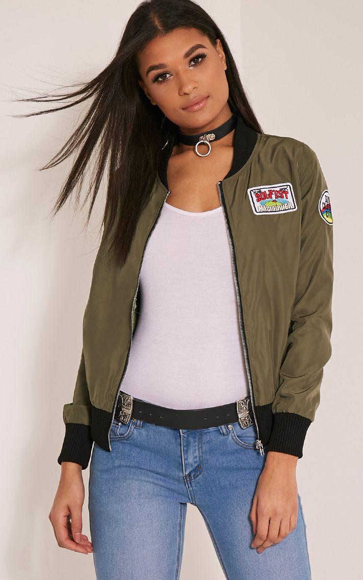 Rozie Khaki Badge Detail Bomber Jacket 1