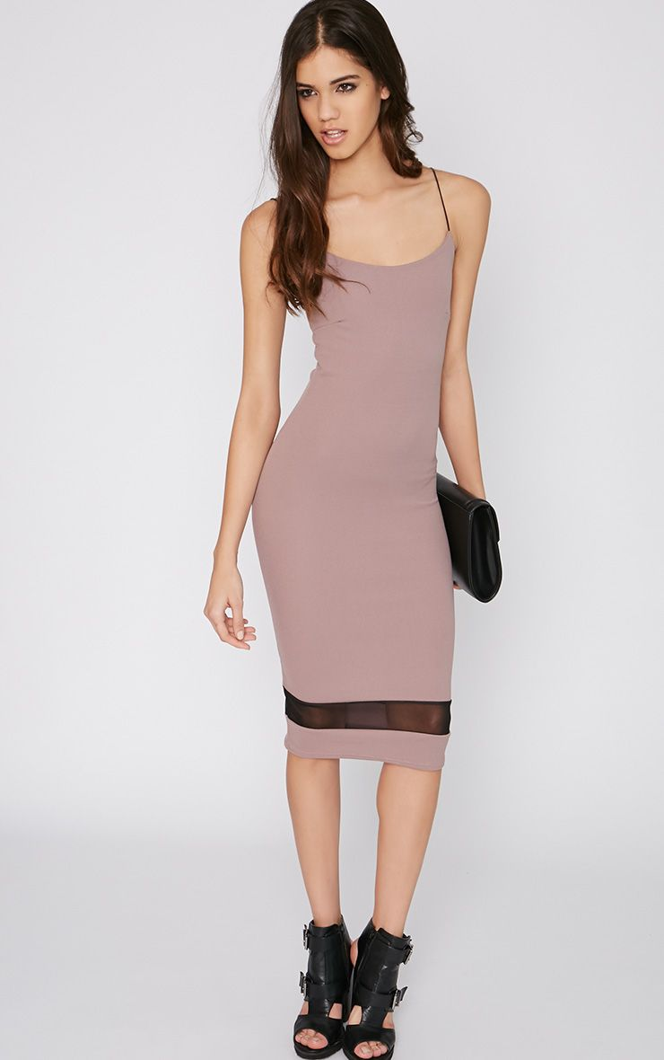 Rayne Mocha Mesh Insert Midi Dress 1