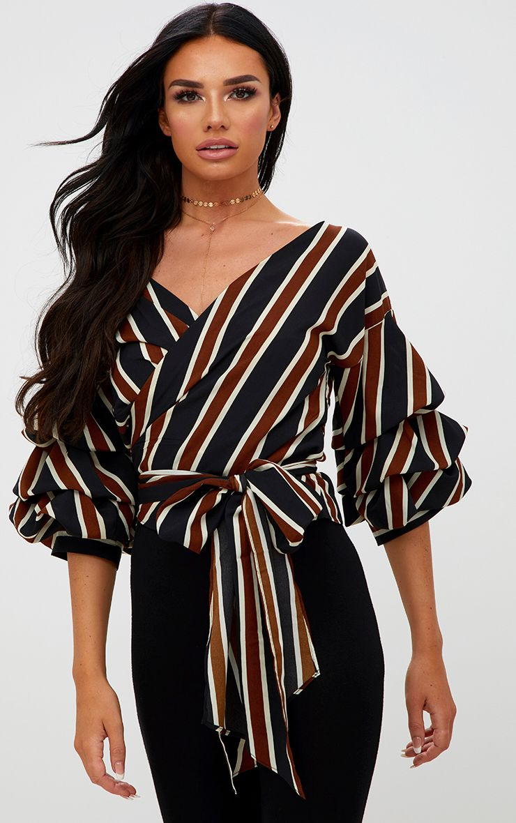 Camel Stripe Oversized Ruffle Sleeve Low Shoulder Shirt