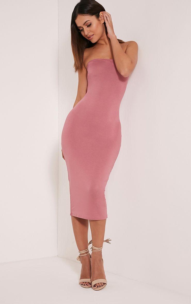 Basic Rose Jersey Bandeau Midi Dress