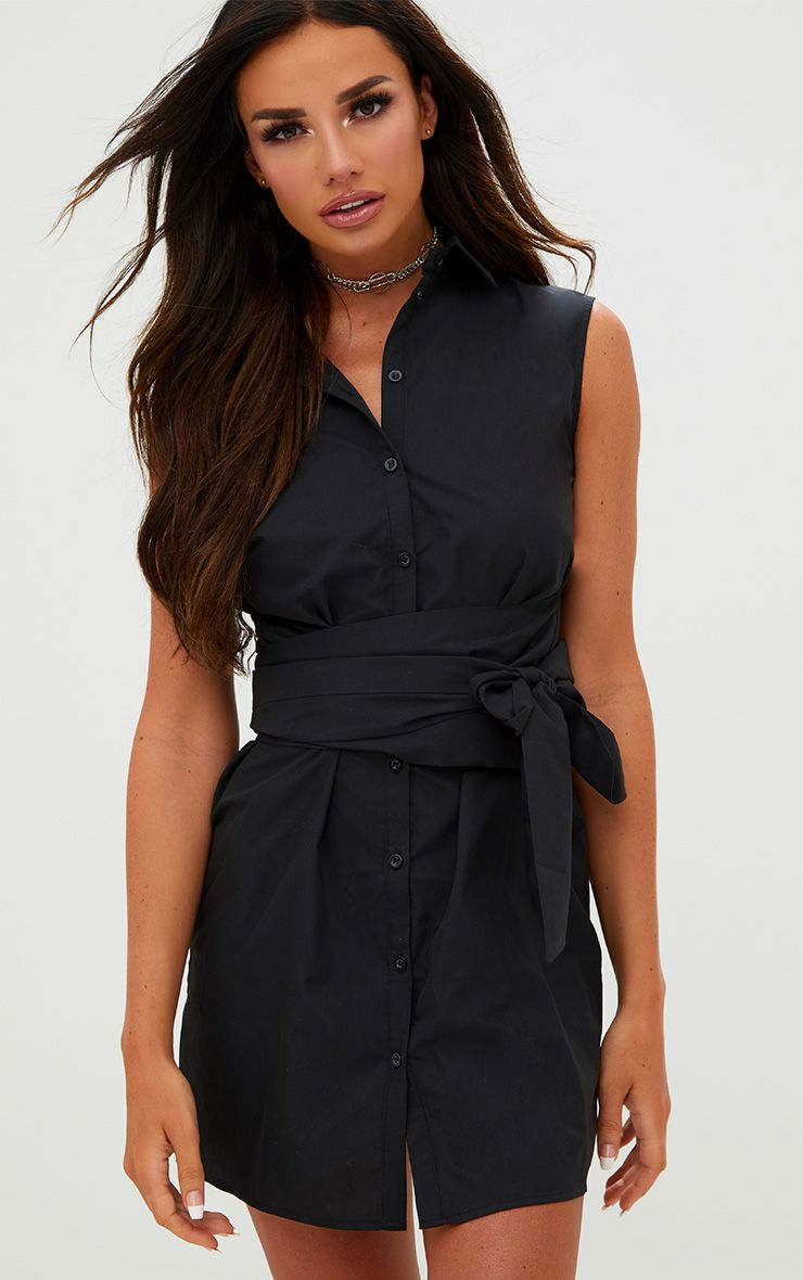 Black Sleeveless Tie Waist Shirt Dress