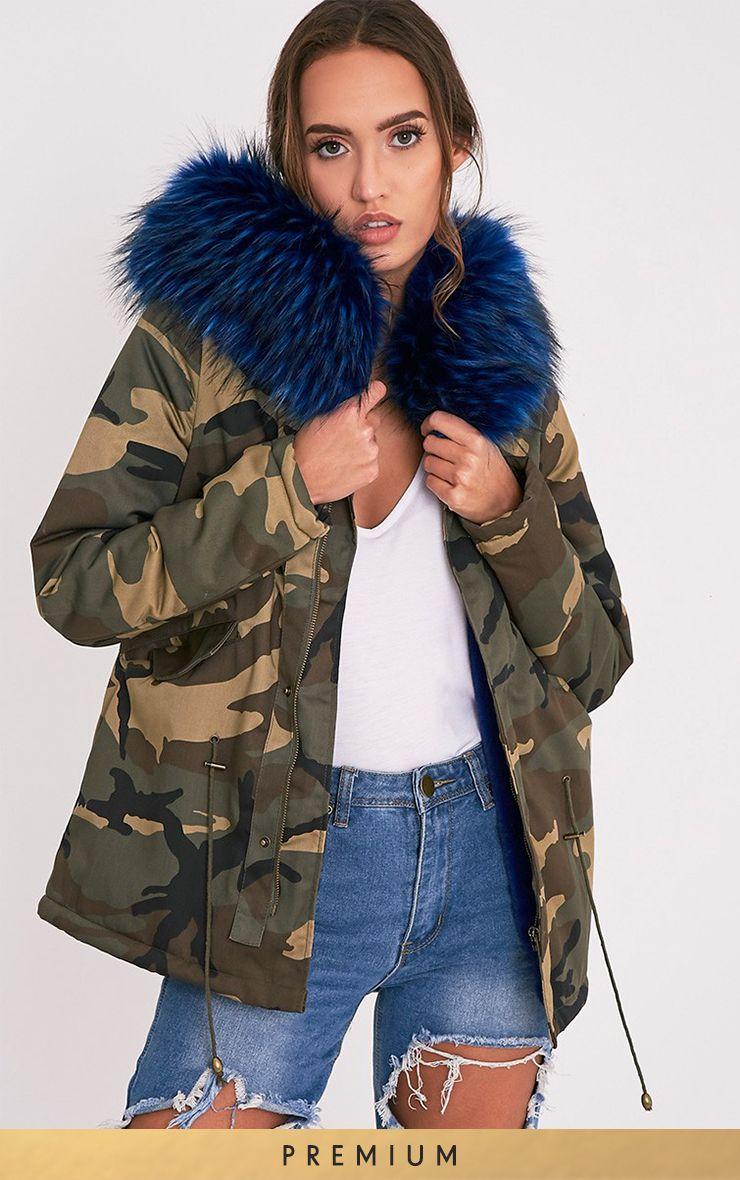 Klaudiya Blue Premium Faux Fur Lined Camo Parka
