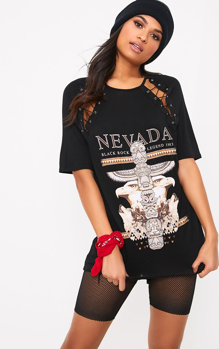 Nevada Slogan Black Double Lace Up T Shirt