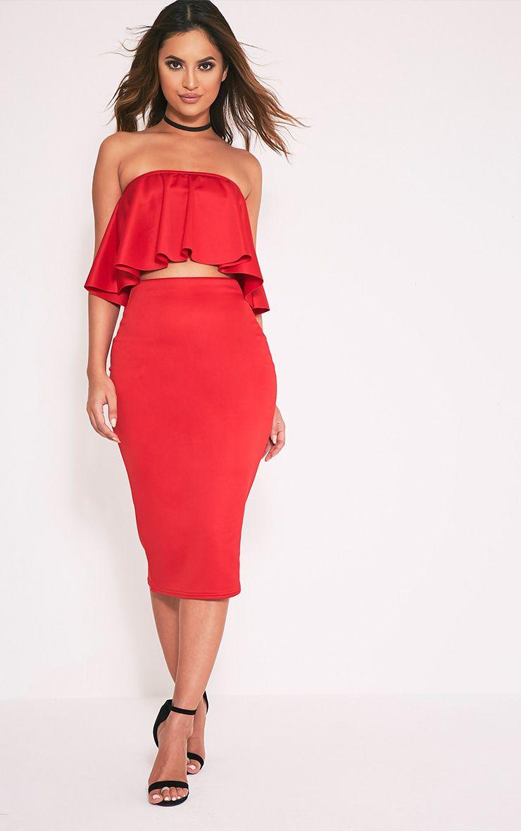 Fillipa Red Scuba Midi Skirt 1