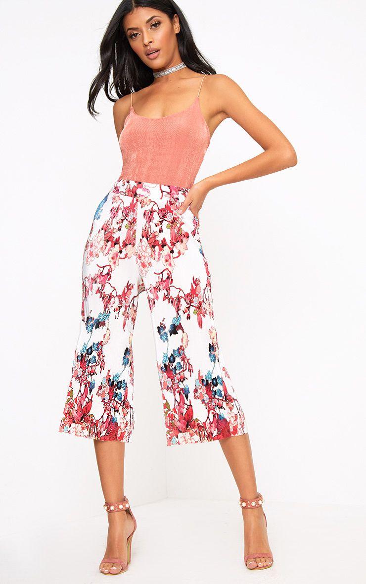 Cream Floral Print Plisse Culottes