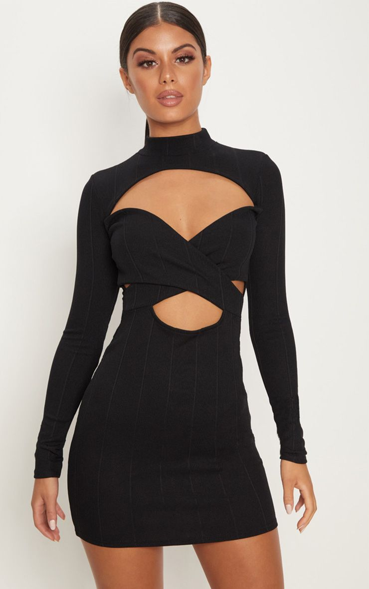 Black Bandage High Neck Cut Out Long Sleeve Bodycon Dress