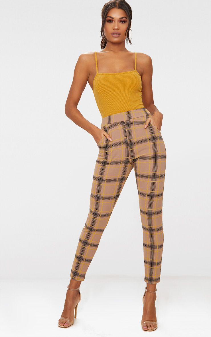 Taupe Check Print Skinny Trousers