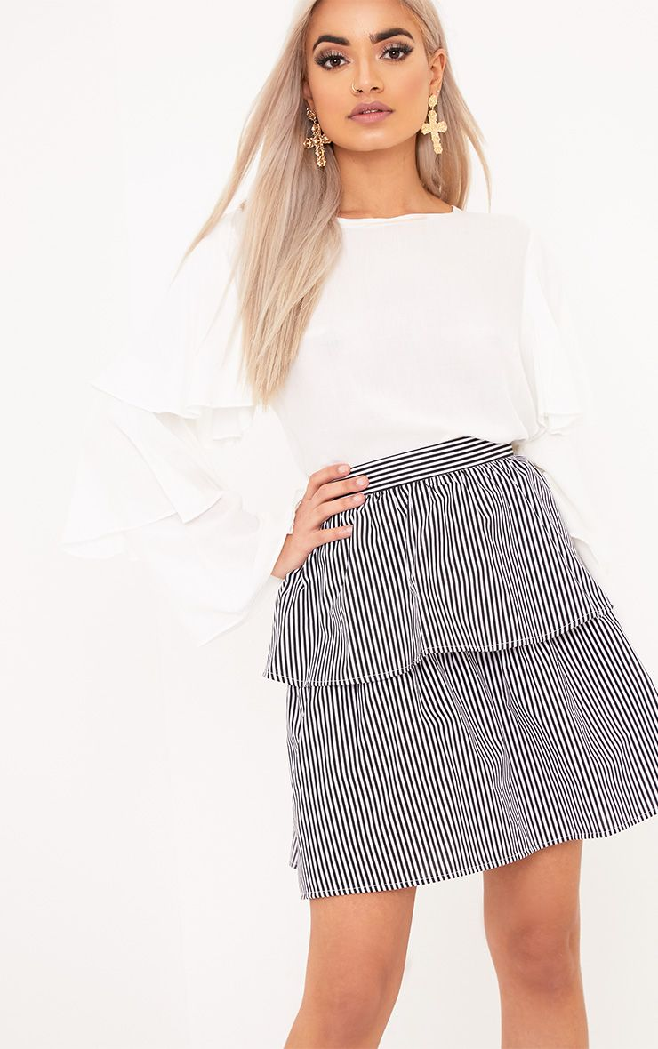 Ariene Black Tiered Stripe Mini Skirt