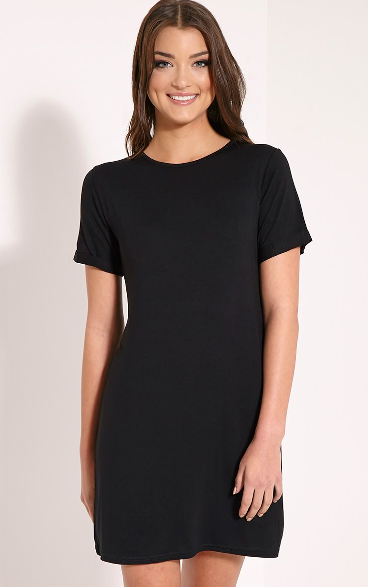 Basic Black Boyfriend Jersey T-Shirt Dress 1