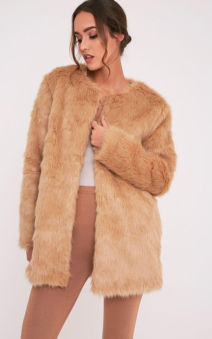 Florencia Tan Faux Fur Coat