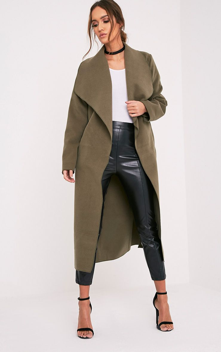 Veronica Khaki Oversized Waterfall Belt Coat