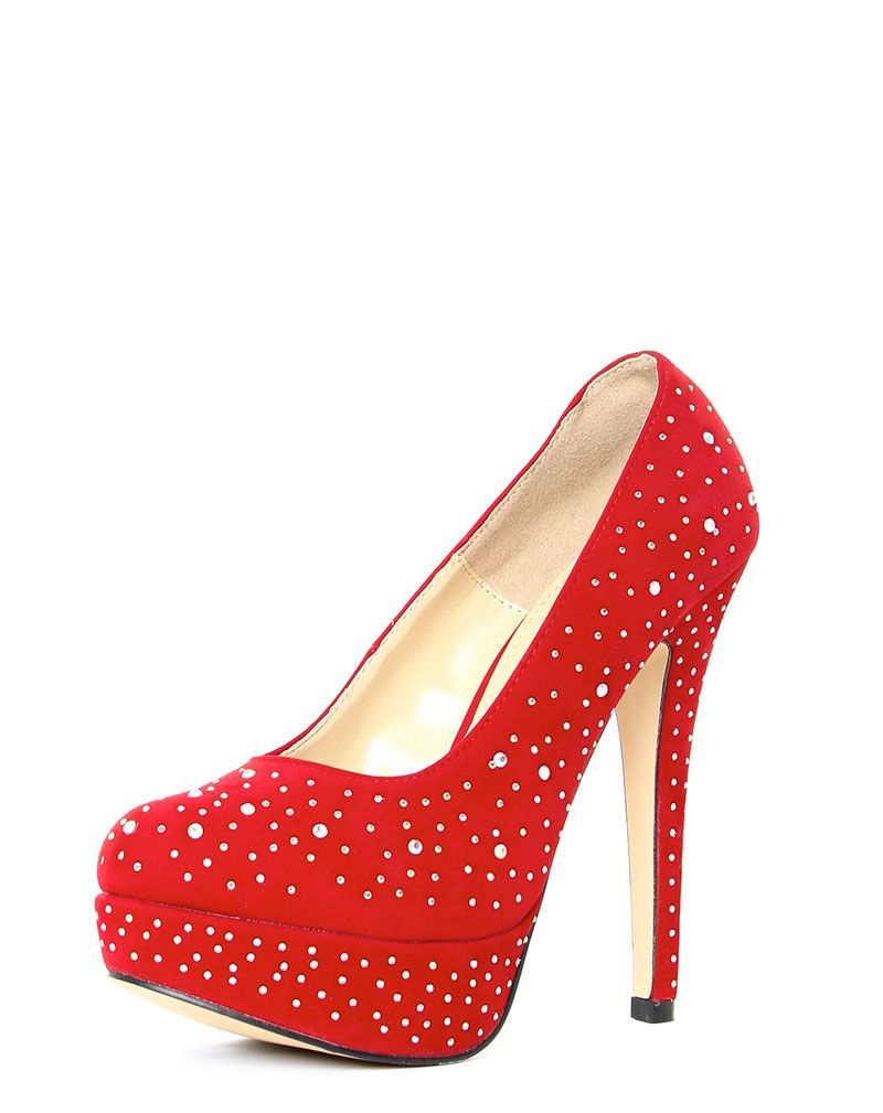 Grace Red Diamante Heels 1