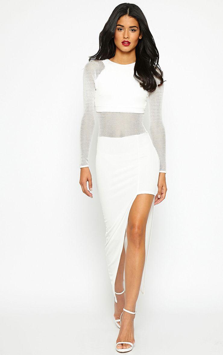 Acacia White Mesh Insert Maxi Dress 1