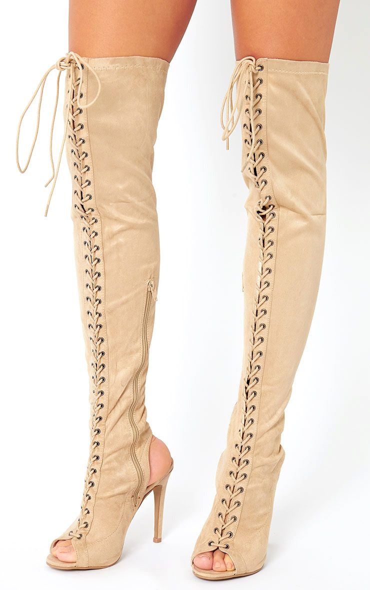 Valentina Nude Suede Lace Up Thigh Boots 1