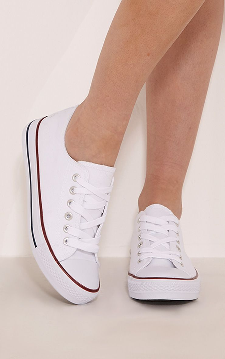 Clio White Canvas Casual Lace Up Trainers 1