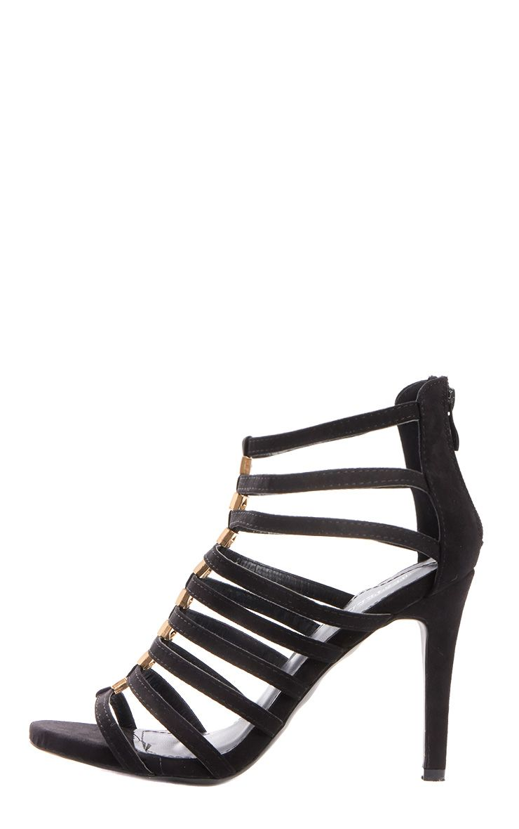 Marietta Black Suede Gladiator Stud Heeled Sandals 1