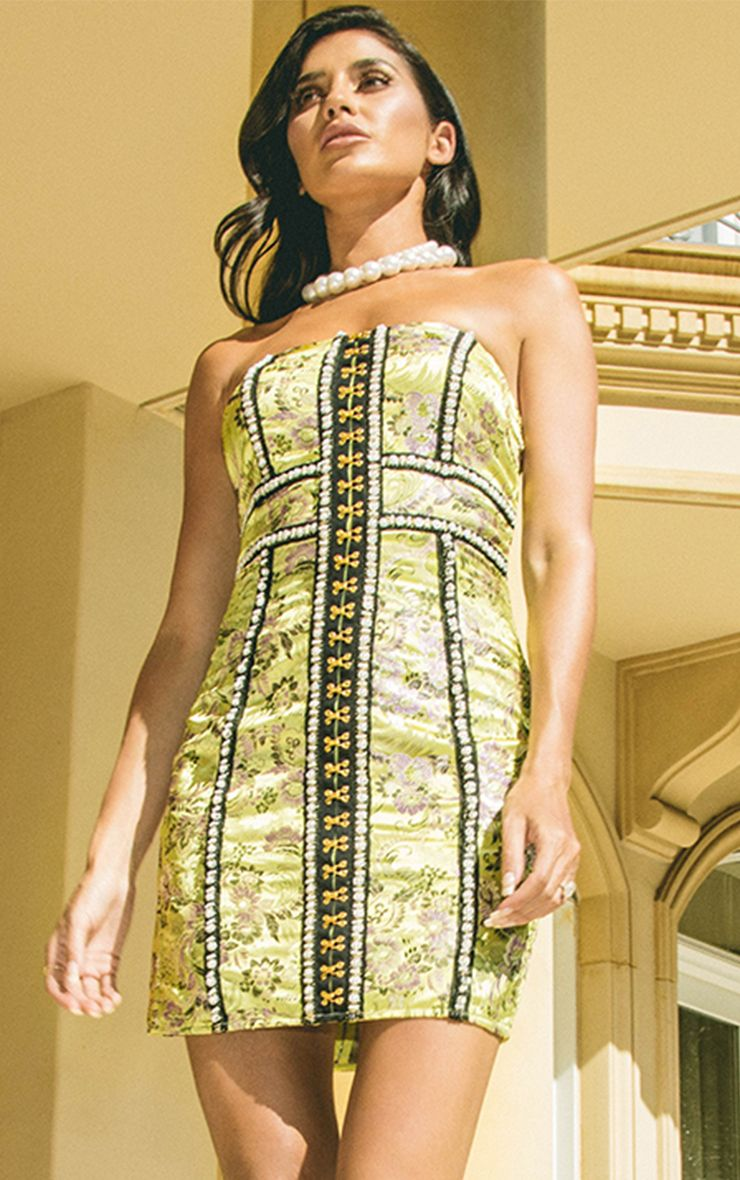 Melysia Lime Premium Oriental Satin Bandeau Mini Dress