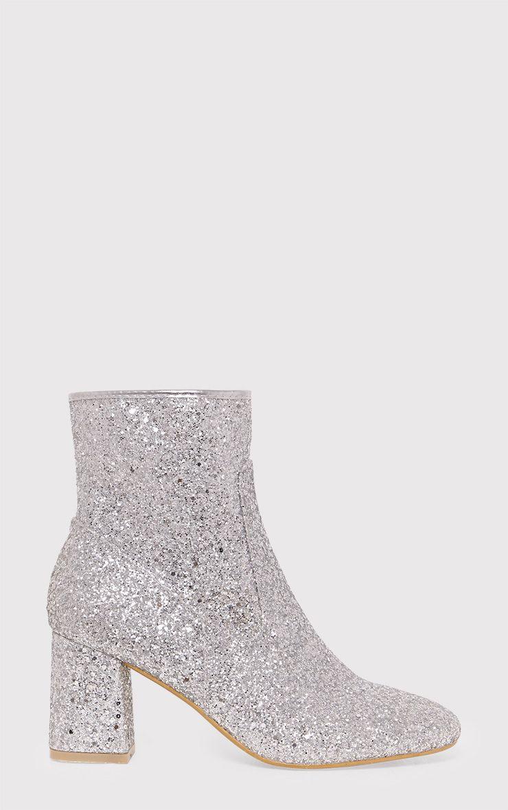 Rhianne Silver Glitter Ankle Boots 1