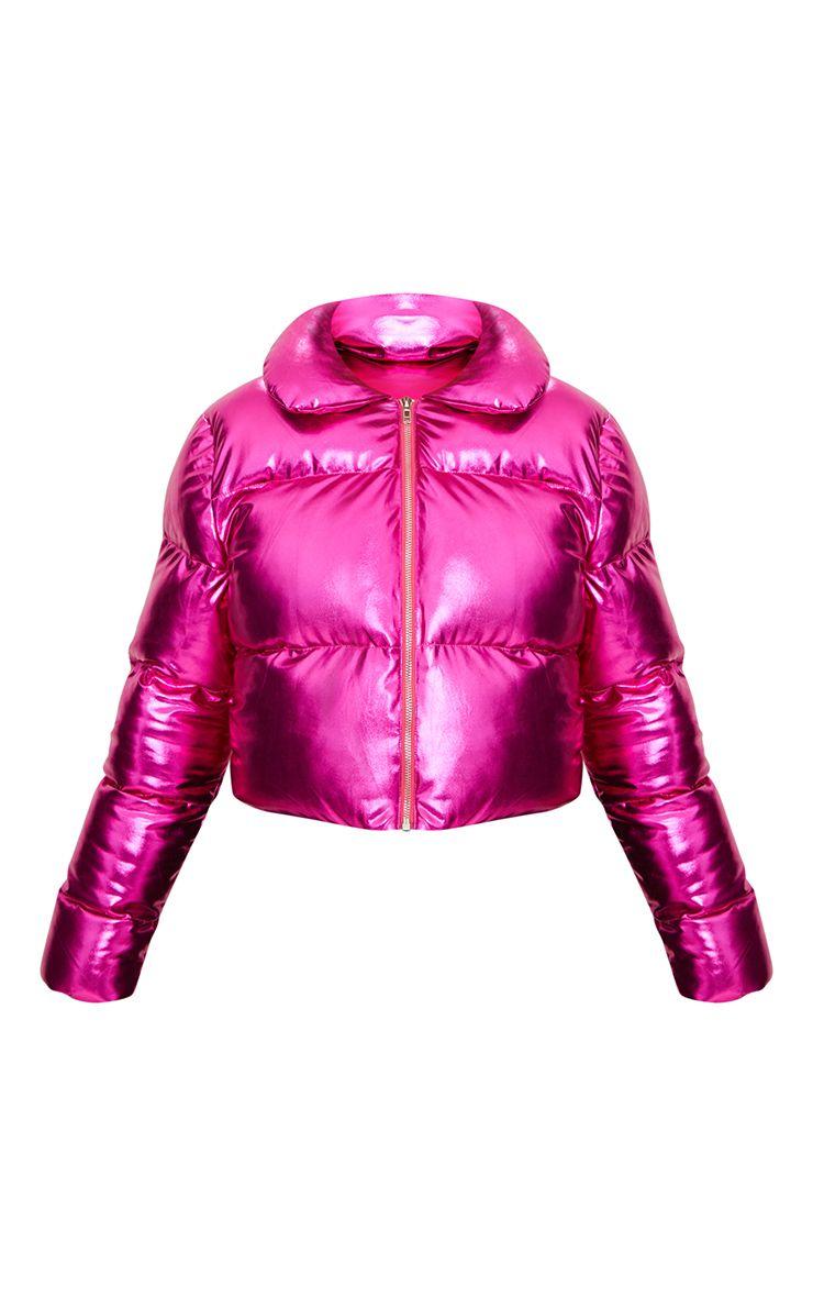 hot pink metallic cropped puffer jacket