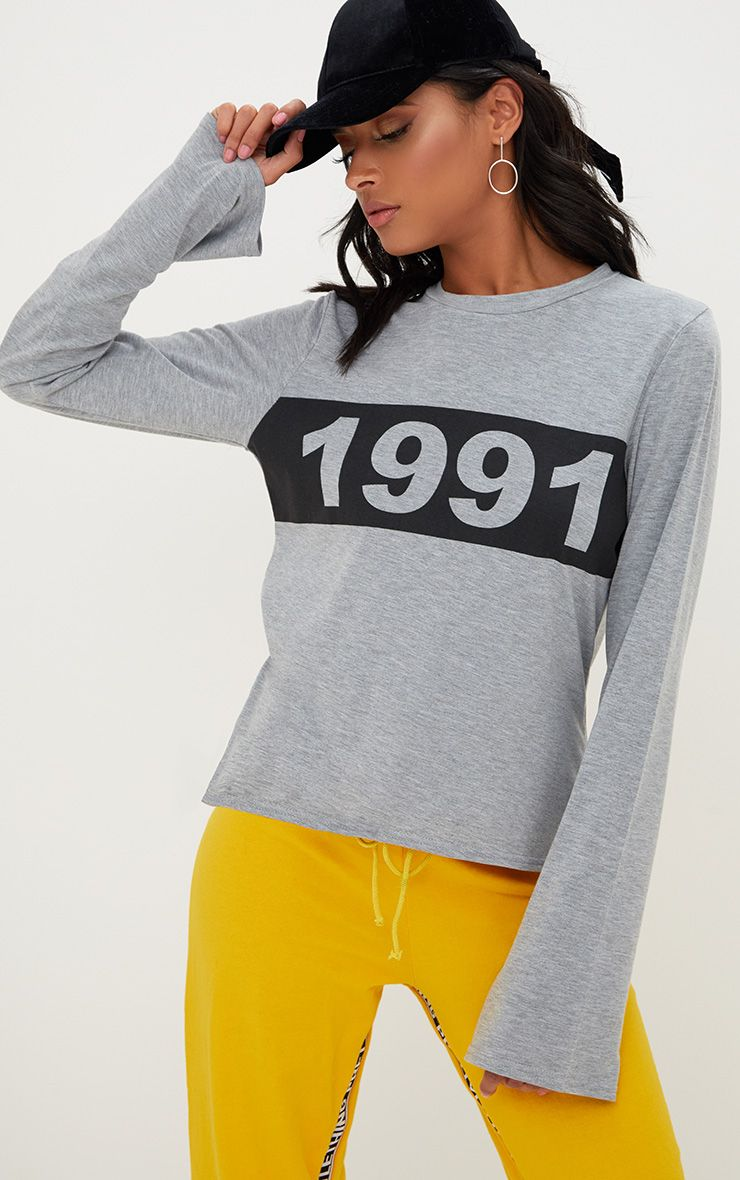 Grey Marl 1991 Slogan Longsleeve Top