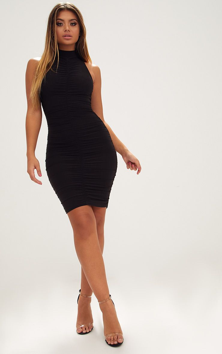 Black High Neck Sleeveless Ruched Slinky Bodycon Dress
