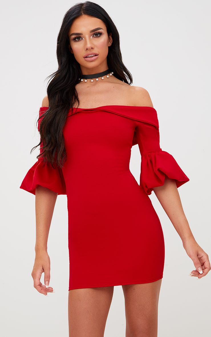 Red Puff Detail Bardot Bodycon Dress