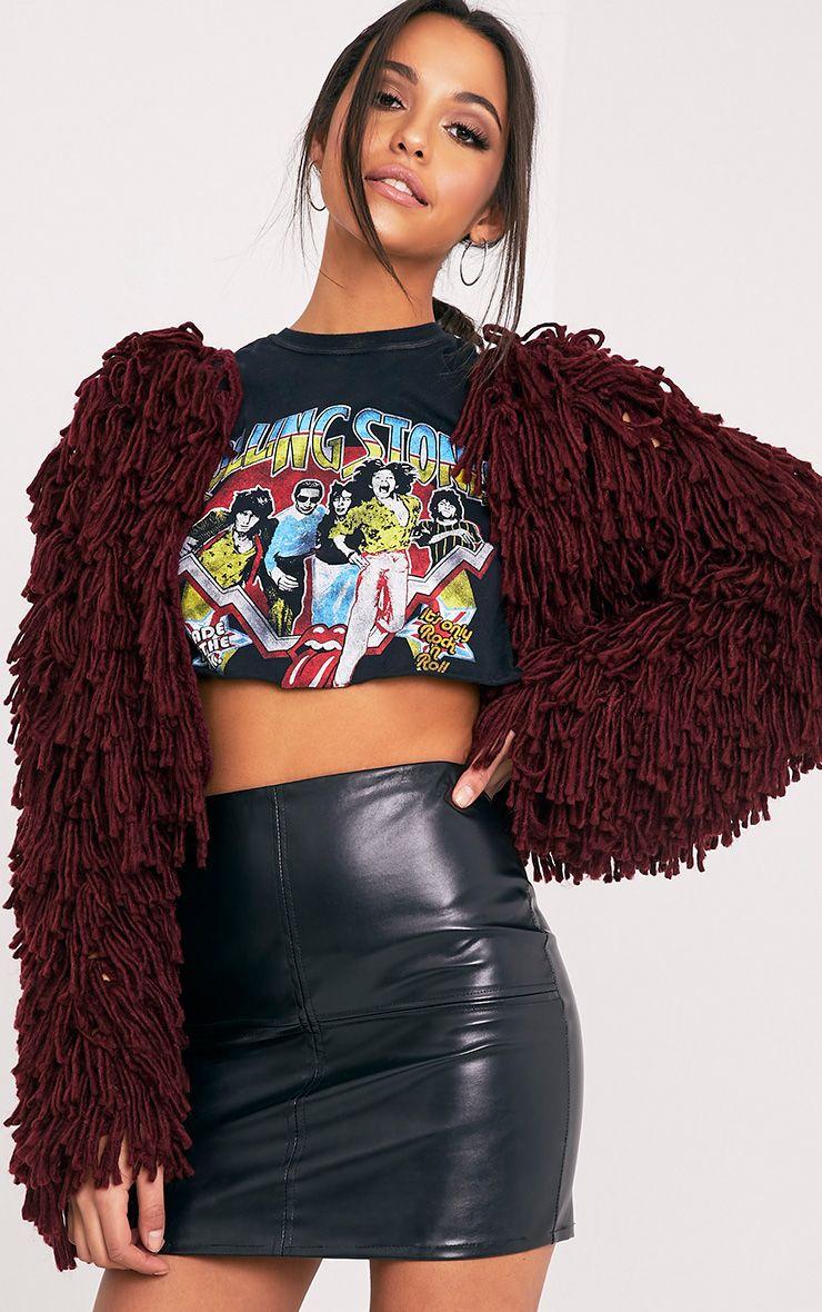 Shainina Burgundy Shaggy Knit Cropped Cardigan