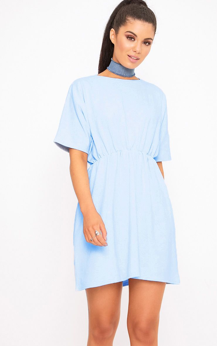 Baby Blue Loop Back Waist Detail Sweater Dress