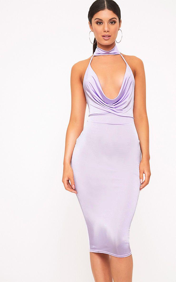 Jaylani Lilac Slinky Cowl Neck Midi Dress 1